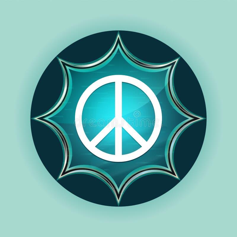和平标志象不可思议的玻璃状镶有钻石的旭日形首饰的蓝色按钮天蓝色背景 皇族释放例证