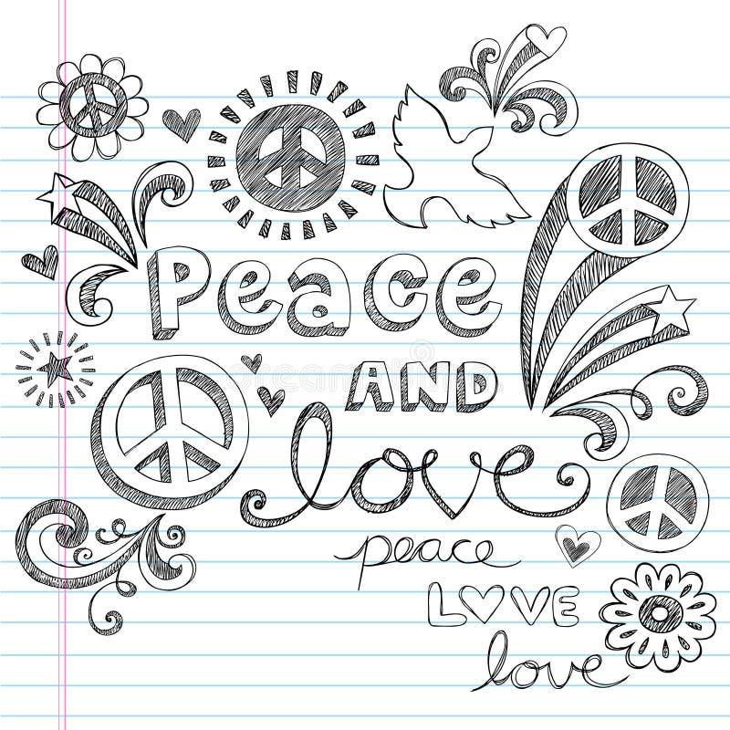 和平标志&爱概略乱画向量 皇族释放例证