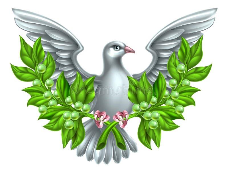 和平橄榄树枝鸠 皇族释放例证