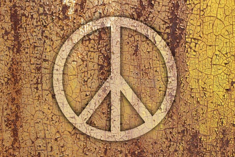 和平的标志在金属的 免版税库存照片