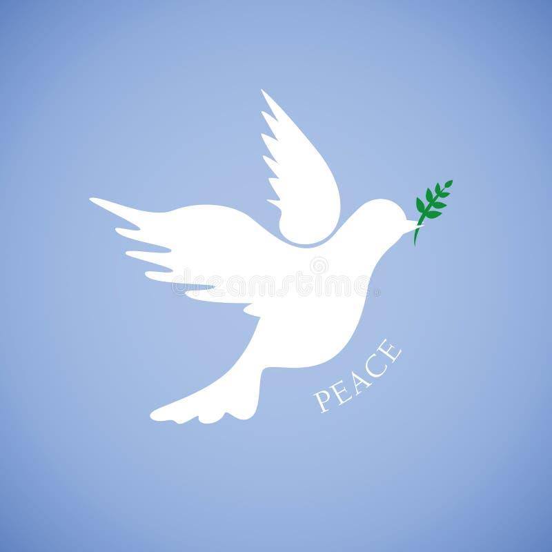 和平的白色鸠在蓝色背景 向量例证