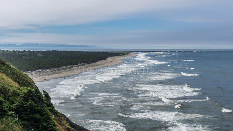 和平的西北海岸线的惊人的看法从海角失望国家公园华盛顿美国的 库存图片