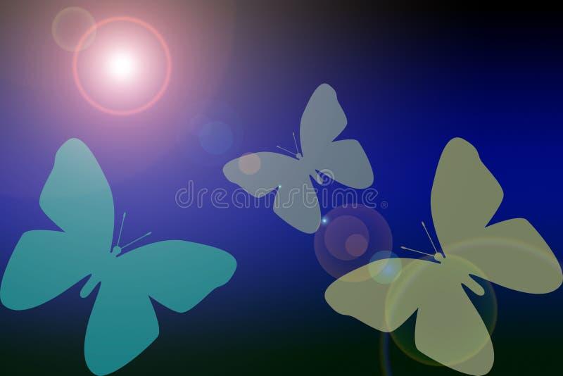 和平蝴蝶在一个深蓝梯度的与太阳或透镜天才 库存例证