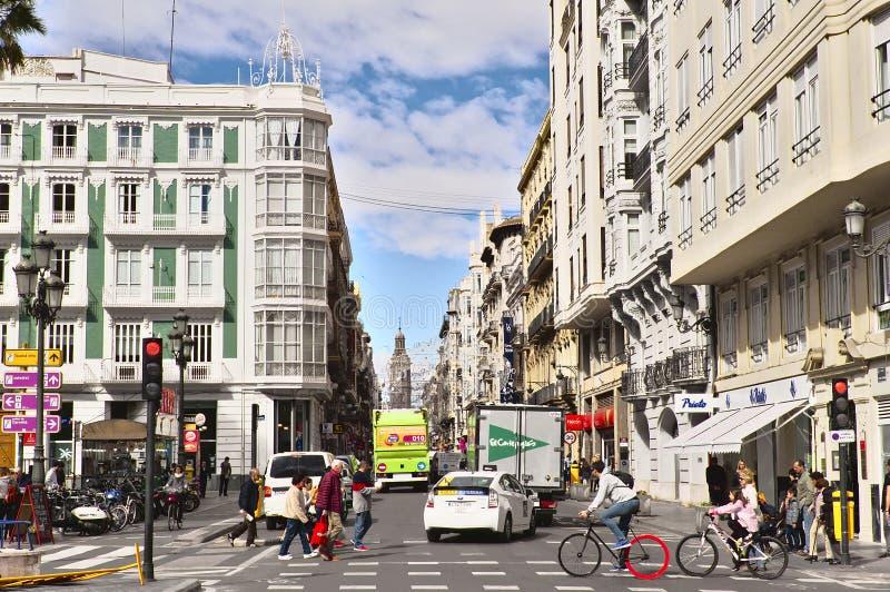 和平街道,巴伦西亚 免版税库存照片