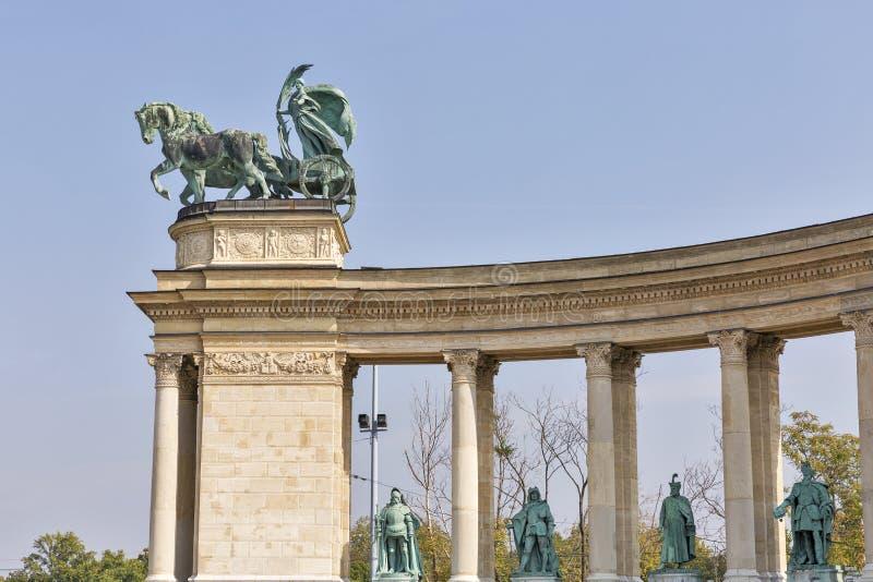 和平雕塑 英雄方形的千年纪念品在布达佩斯,匈牙利 免版税库存照片