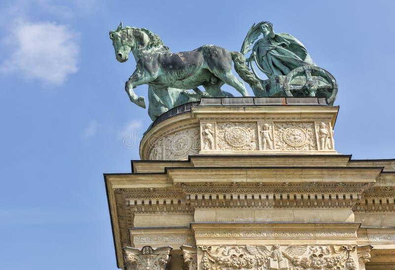 和平雕塑 英雄方形的千年纪念品在布达佩斯,匈牙利 免版税图库摄影