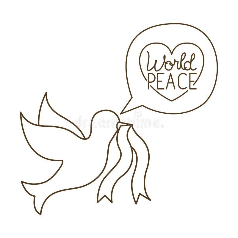 和平鸠与世界和平被隔绝的象的 向量例证