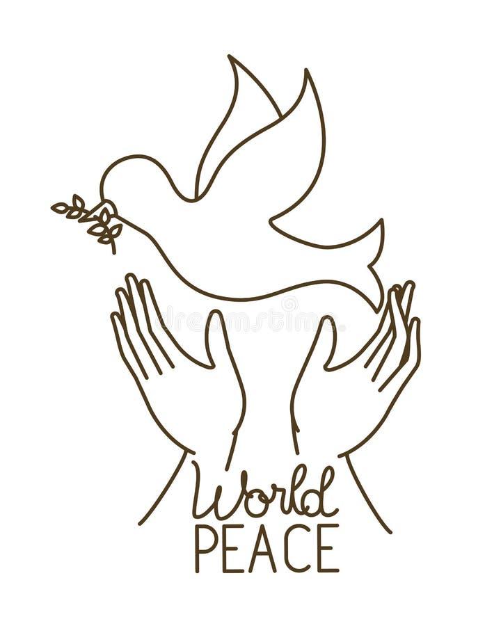 和平鸠与开放手具体化字符的 皇族释放例证