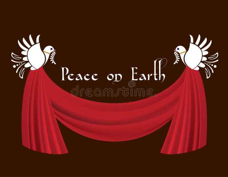 和平鸠与赃物窗帘的 库存例证