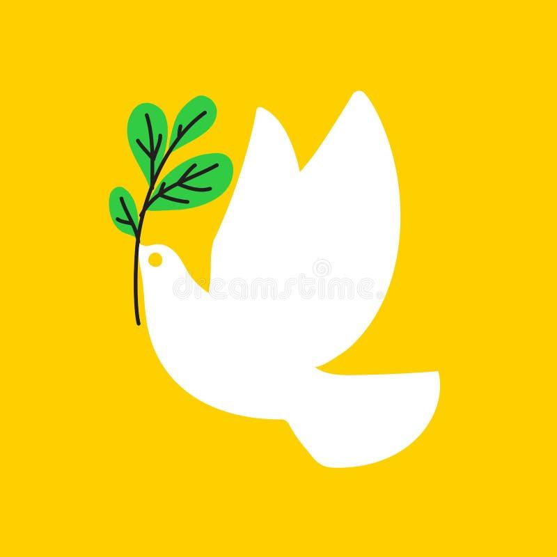 和平鸠 白色鸽子的平的样式传染媒介例证 库存例证