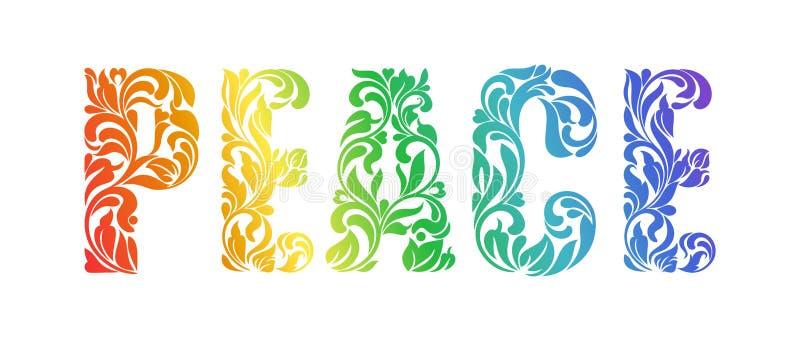 和平 在漩涡和花卉元素做的装饰字体 库存例证