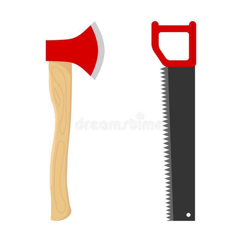 轴和引形钢锯在木头 向量例证