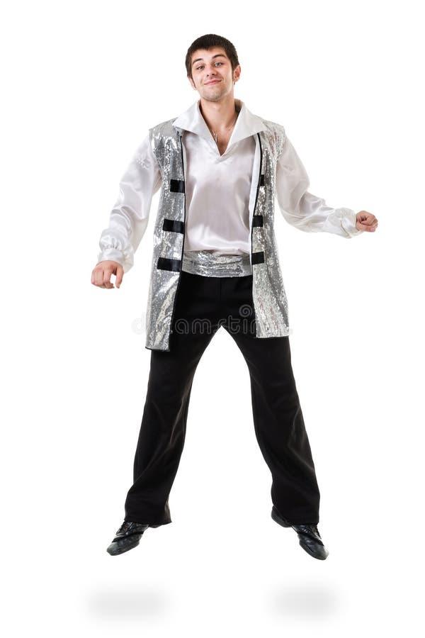 年轻和时髦现代跳芭蕾舞者跳跃,隔绝在白色 充分机体 库存图片