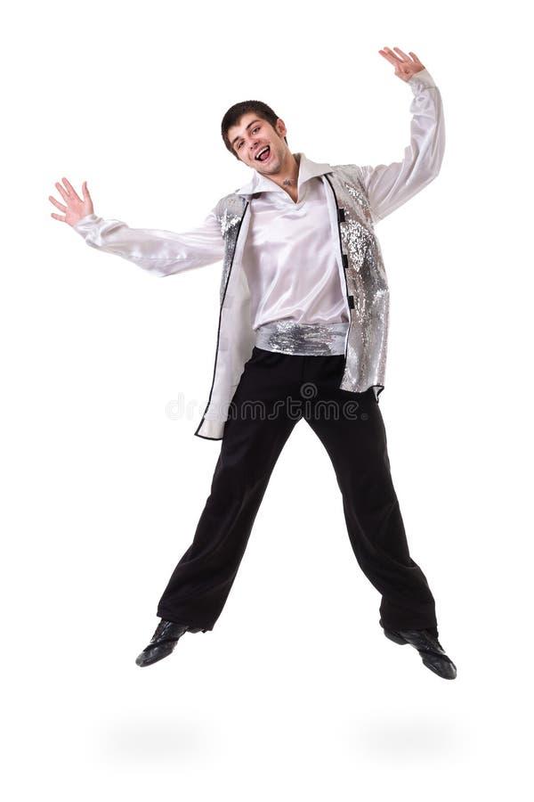 年轻和时髦现代跳芭蕾舞者跳跃 免版税库存照片