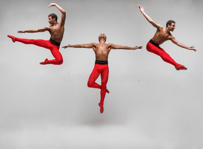 从年轻和时髦的现代跳芭蕾舞者的图象的拼贴画 库存照片