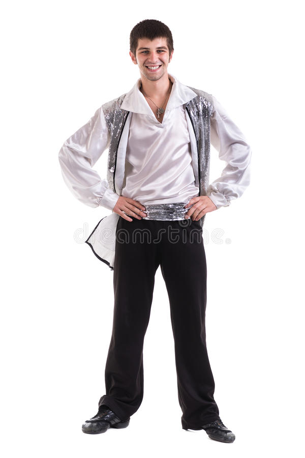 年轻和时髦的现代跳芭蕾舞者,隔绝在白色 充分机体 免版税库存照片