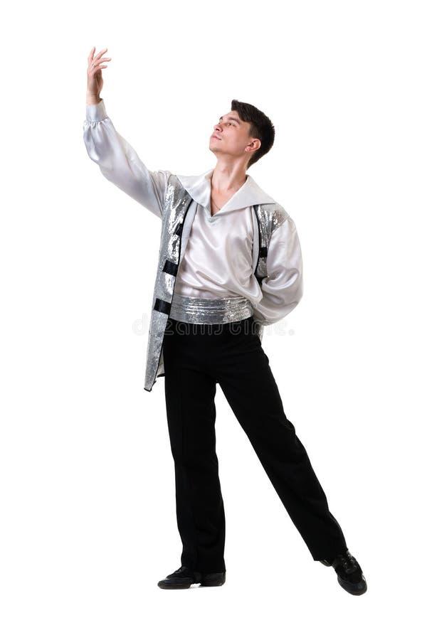 年轻和时髦的现代跳芭蕾舞者,隔绝在白色 充分机体 库存图片