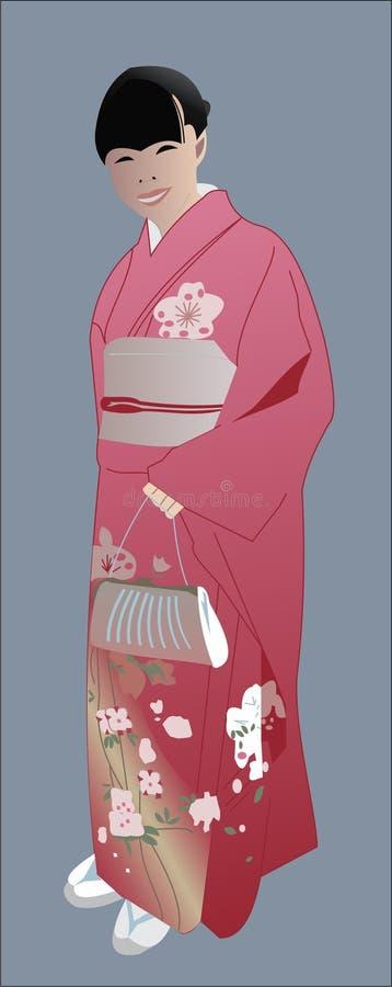 和服的日本女孩 皇族释放例证