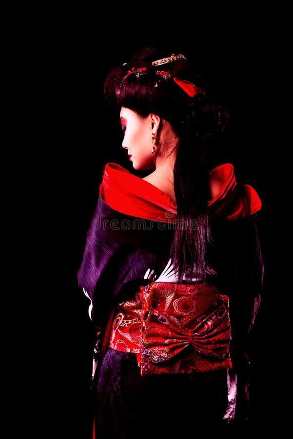 和服的美丽的日本女孩 库存照片