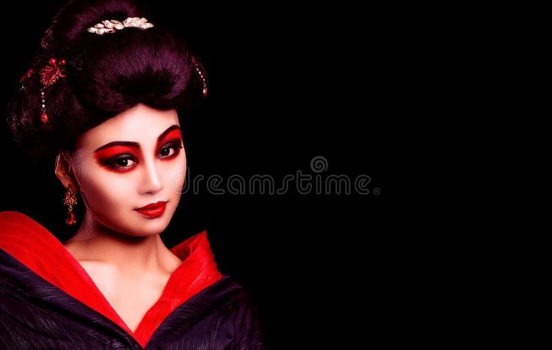 和服的美丽的日本女孩 图库摄影