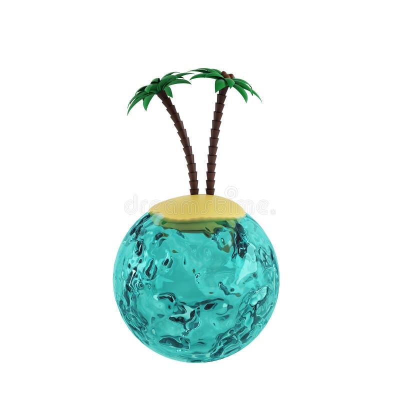水和海岛世界有棕榈的 3d回报 库存例证