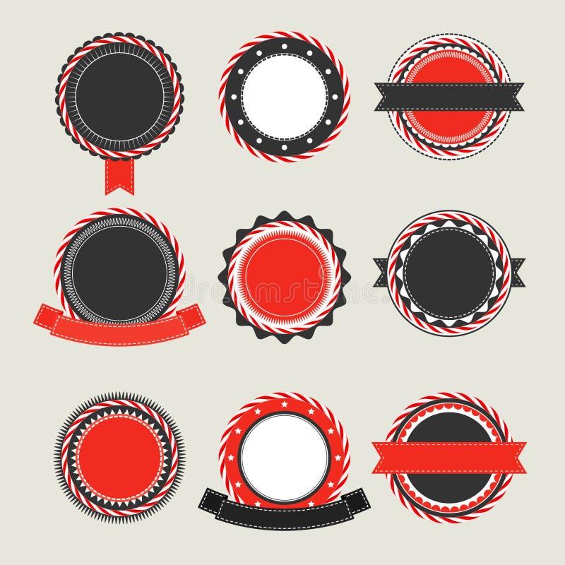 黑和红色葡萄酒证章模板 皇族释放例证