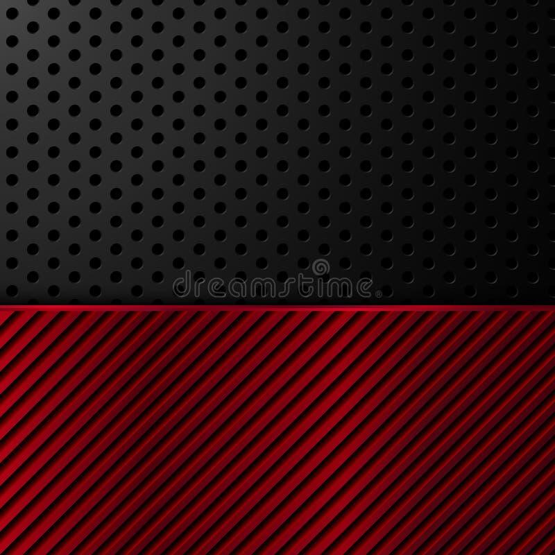 黑和红色金属背景 也corel凹道例证向量 向量例证