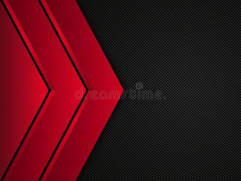 黑和红色金属背景 传染媒介金属横幅 抽象背景技术 皇族释放例证