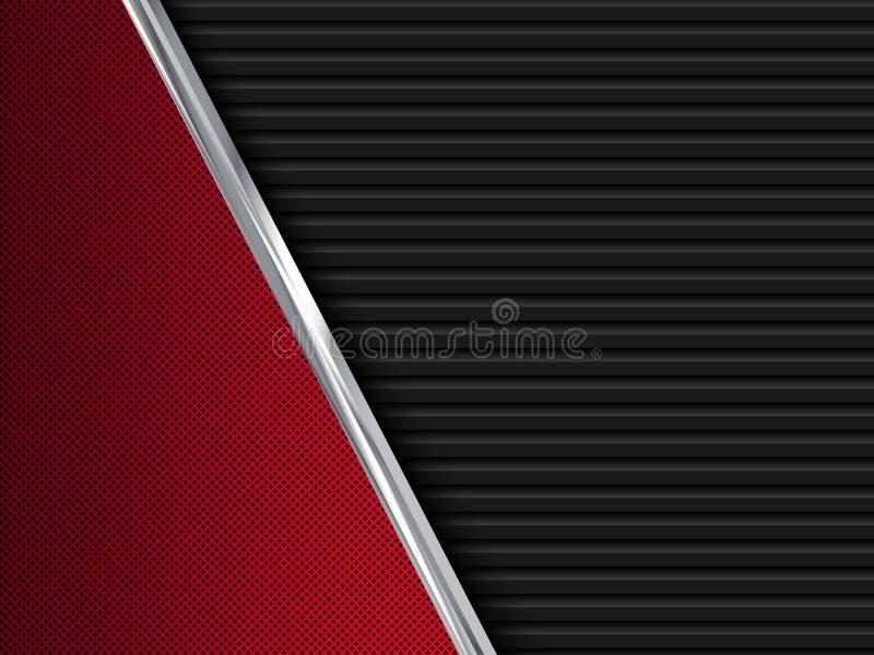 黑和红色金属背景 抽象例证 皇族释放例证