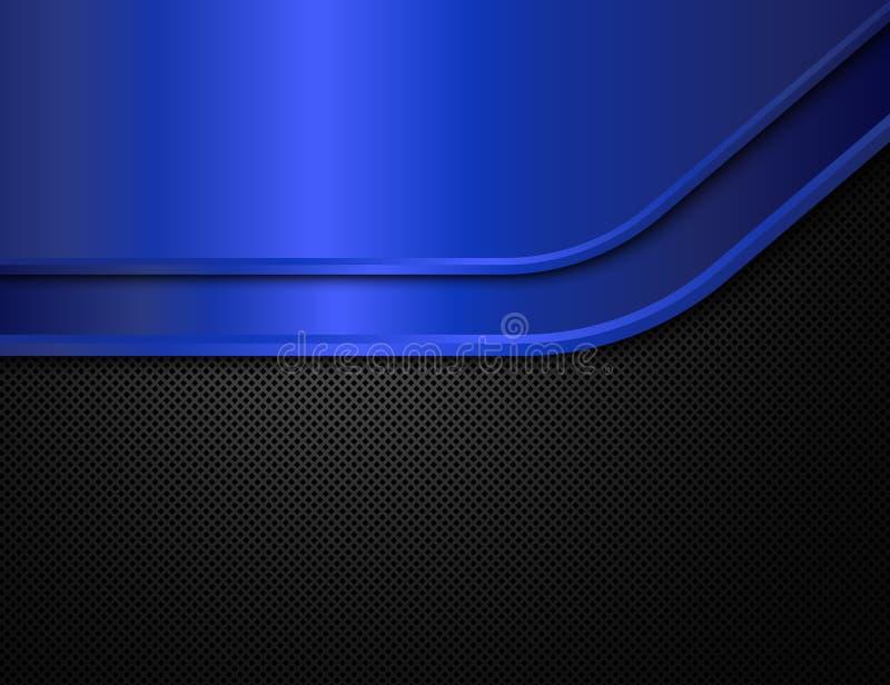 黑和蓝色金属背景 使用向量的设计好的零件stiker模板您 皇族释放例证