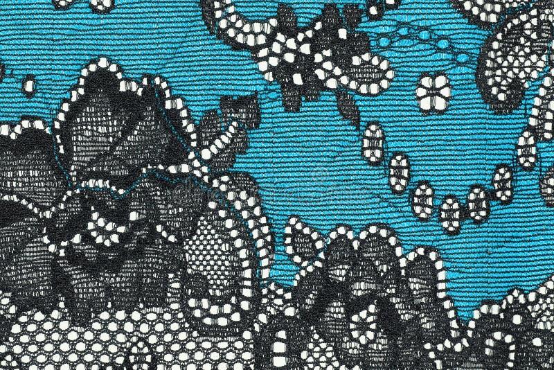 黑和蓝色鞋带纹理的宏观射击 免版税图库摄影