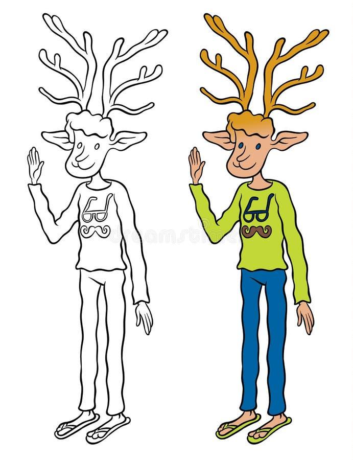 和蔼可亲地挥动的鹿 向量例证