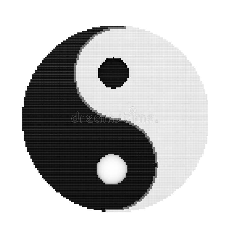 和谐和平衡的尹杨标志在映象点艺术样式 3d关于 库存例证