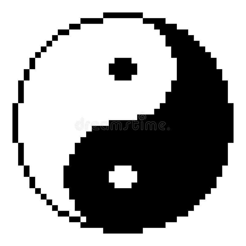 和谐的尹杨立方体标志和平衡  向量例证