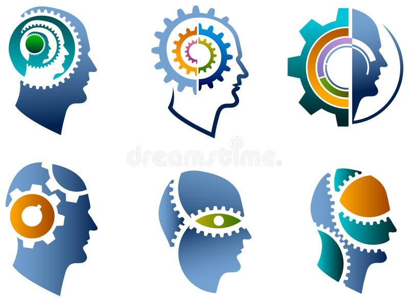 头和齿轮商标集合 向量例证