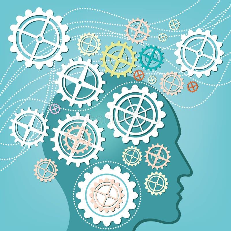 头和齿轮概念脑子  向量例证