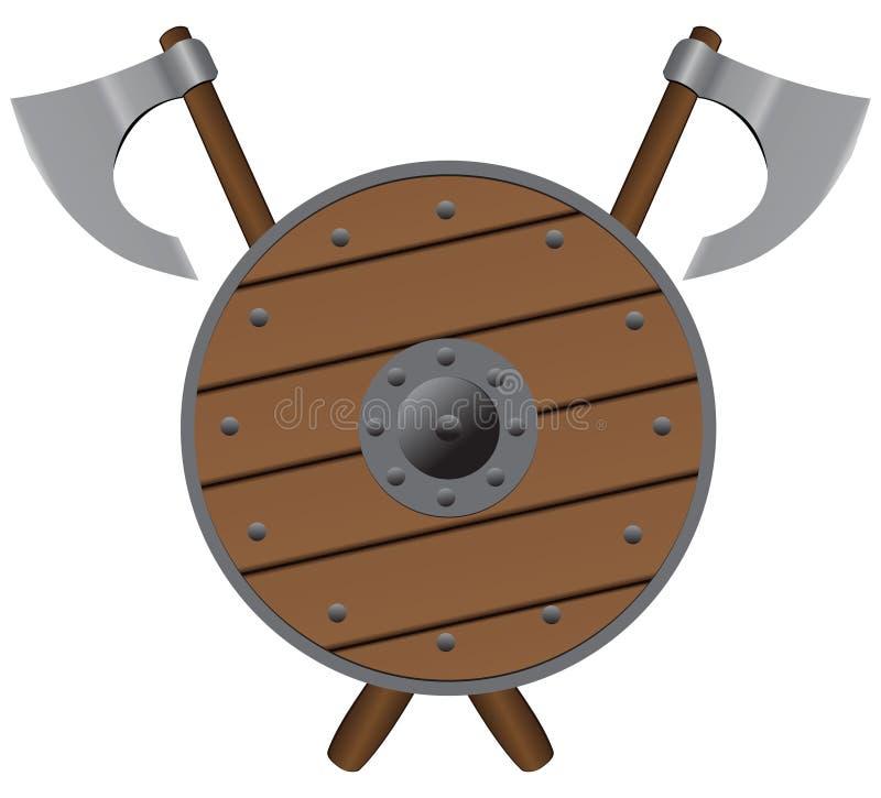 轴和轻的盾 库存例证