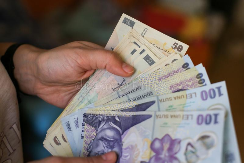 50和100罗马尼亚列伊货币 库存照片