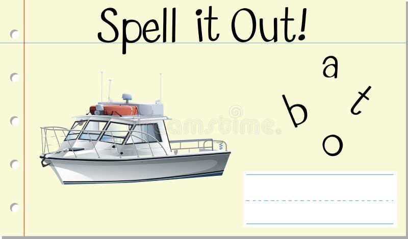 咒语英国词小船 向量例证