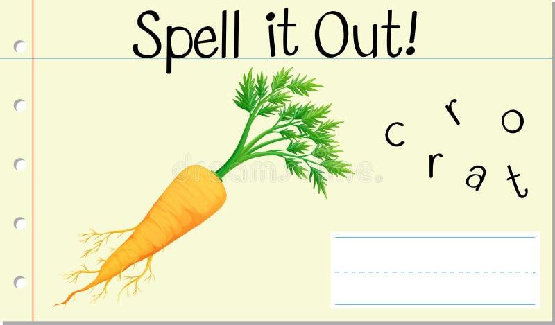 咒语英语单词红萝卜 库存例证