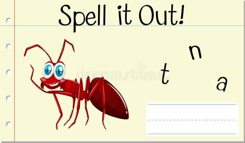咒语英语单词蚂蚁 向量例证