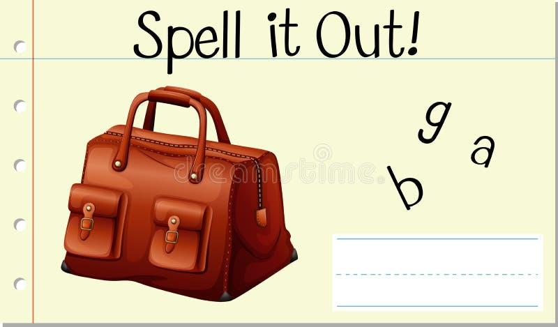 咒语英语单词袋子 库存例证