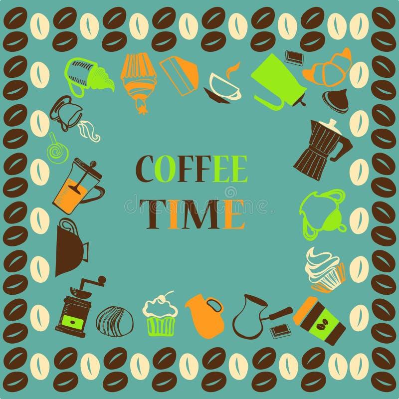 咖啡、咖啡罐、杯和杯形蛋糕 皇族释放例证