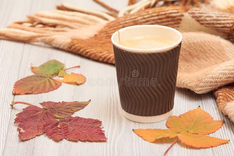 咖啡、干燥叶子和格子花呢披肩在仍然秋天llife 库存图片