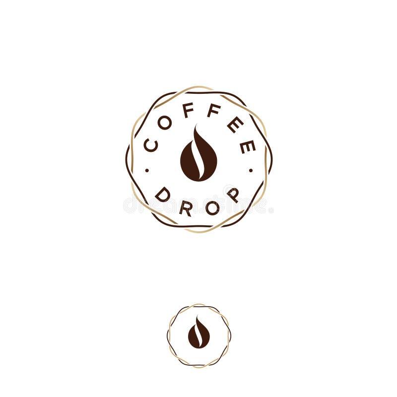 咖啡下落商标 咖啡象征 咖啡下落,象咖啡豆,在交错的花圈线 皇族释放例证