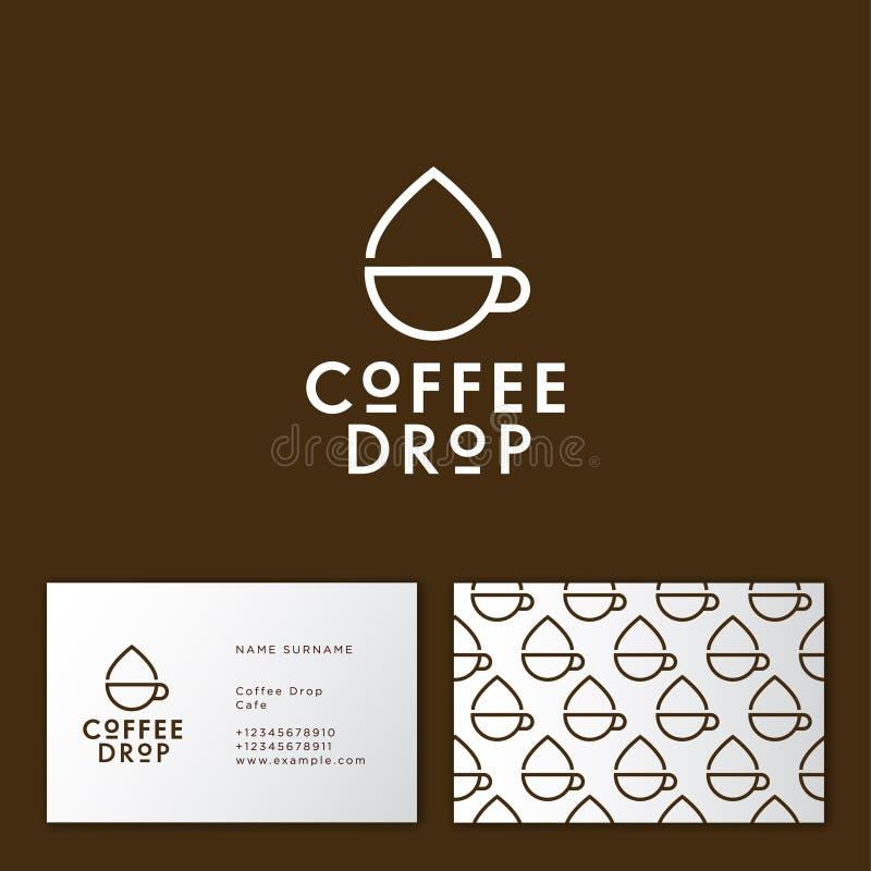 咖啡下落商标 咖啡象征 杯子和投下线性平的象 咖啡馆的行家平的商标 向量例证