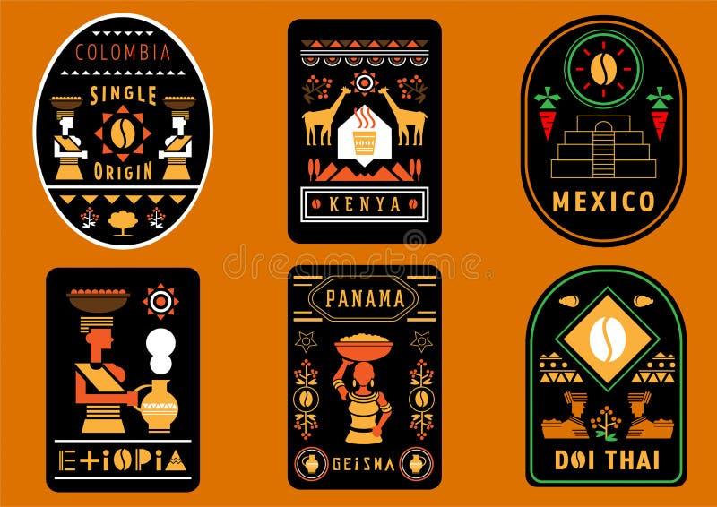 咖啡与几何例证的标签设计 皇族释放例证