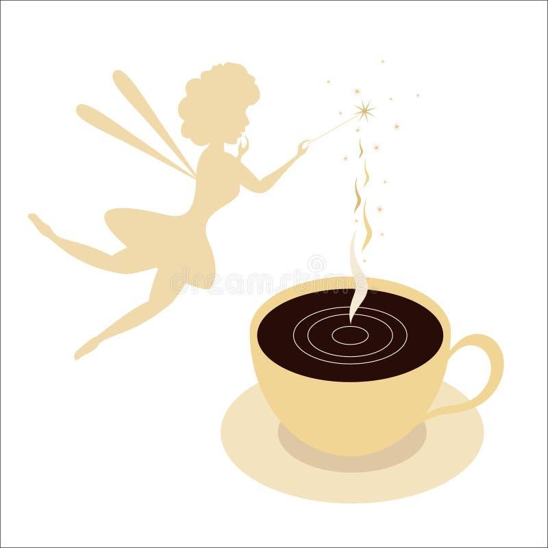 咖啡与天使的 向量例证