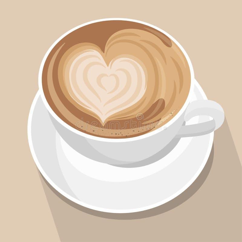 咖啡与心脏拿铁艺术的 在棕色淡色背景的白色杯子 r r 库存例证