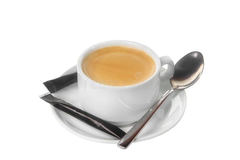 咖啡与糖被隔绝的白色的 免版税库存图片